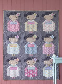 Kimono Girl Grey Quilt Kit featuring Happy Camper by Tilda Quilt Baby, Colchas Quilt, Quilt Blocks, Quilting, Children's Quilts, Quilt Kits, Nancy Zieman, Green Zebra, Girls Quilts