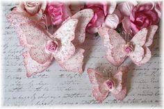 Vintage Chic Script Shabby Handmade Butterflies by LittleScrapShop, $3.99
