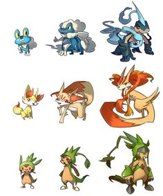 pokemon x and y starter evolutions. Not the real ones,  but the designs are cool