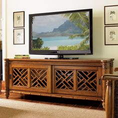 Tommy Bahama by Lexington Home Brands Island Estate Nevis Media Console with Optional Hutch - Entertainment Centers at Hayneedle