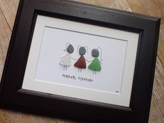 Three genuine sea glass pieces were found on the beautiful shores of Nova Scotia and transformed into your besties dresses! This art signifies three friends, against the world, together. Perfect gift for a graduation present, moving away present, or just because you and your besties are