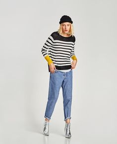 5d1e29fb Image 1 of CONTRAST STRIPED SWEATER from Zara Pulls, Everyday Look, Fall  Looks,