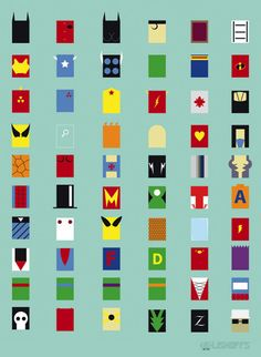 Minimalist Superhero Poster.  Warning, guessing all these correctly will only lead to self-realization that you are a geek!