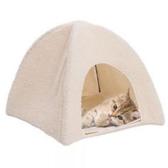 Morbido-pelle-di-pecora-GATTO-Tenda-DEN-CAT-letti-Igloo-nascondersi-GATTO-GATTINO-letto