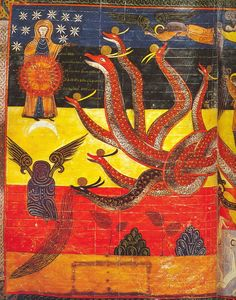 From the Commentary on the Apocalypse written by century abbot and Visigoth Bishop Beatus of Liébana. Medieval Manuscript, Medieval Art, Illuminated Manuscript, Art And Illustration, Apocalypse, Dragons, Romanesque Art, Medieval Paintings, Book Of Hours