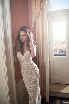 berta bridal fall 2015 illusion neckline lace sweetheart wedding dress close up pearl beaded bodice -- Berta Bridal Fall 2015 Wedding Dresses Fall Wedding Gowns, 2015 Wedding Dresses, Wedding 2015, Bridal Dresses, Bridal 2015, Summer Wedding, Lace Wedding, Fit And Flair, Costume Blanc