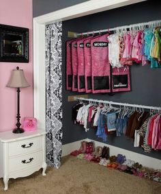 love the closet curtain idea. better then trying to open a closet door that swings open in the kids room to find the door blocked by crap  https://www.facebook.com/photo.php?fbid=225818264143632=a.225817910810334.55975.109946079064185=1=nf#!/organizables