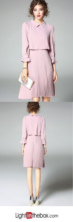 Women's Going out CuteSolid Peter Pan Collar Knee-length Long Sleeves A Line Dress