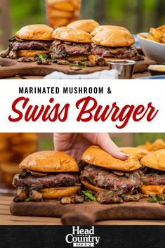 Marinated Mushroom And Swiss Burgers are tender and juicy. These full of flavor burgers will be a crowd pleaser. Burger Buns, Good Burger, Burgers, Marinated Mushrooms, Stuffed Mushrooms, Head Country Bbq Sauce Recipe, Mushroom Swiss Burger, White Mushrooms, Summer Grilling Recipes