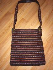 TORY BURCH Crossbody Messenger Bag Purse Beaded Brown Suede Leather Purse EUC