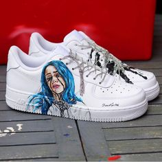 Hand painted for billie eilish : sneakers Sneakers Mode, Custom Sneakers, Custom Shoes, Sneakers Fashion, Fashion Shoes, High Top Sneakers, Custom Af1, Sneakers Workout, Nba Fashion