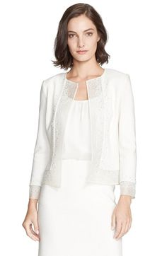 St. John Collection Sequin Embellished Bouclé Knit Jacket cream and caviar available at #Nordstrom