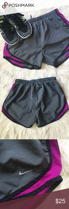 Nike Dry Fit Running Shorts Size Small Nike dry fit running shorts, gray and purple. Excellent used condition! Minimal signs of wear! Nike Shorts
