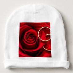 Valentine's Day Red Rose and Wedding Rings Baby Beanie - valentines day gifts love couple diy personalize for her for him girlfriend boyfriend