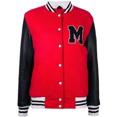 Manokhi varsity jacket (1.626.505 COP) ❤ liked on Polyvore featuring outerwear, jackets, red, varsity bomber jacket, red letterman jacket, varsity style jacket, teddy jacket and varsity jacket
