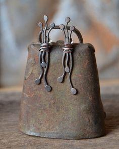 unusual abstract oxidized copper post earrings by StudioLunaVerde