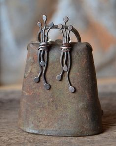 unusual abstract oxidized copper post earrings by StudioLunaVerde