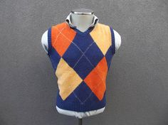 Colourful Sweater Vest Size Medium Med / Vintage Argyle Vest / Knitted / Knit Vest / Sleeveless Sweater / Autumn Fall Vest / Made in Italy Fall Vest, Knit Vest, Wool, Vintage, Knitting, Medium, How To Make, Sweaters, Jackets