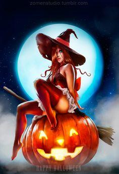 Happy Halloween 2016 by zomen-studio Fantasy Witch, Witch Art, Dark Fantasy Art, Fantasy Girl, Fantasy Artwork, Halloween Pin Up, Halloween Quotes, Halloween Pictures, Happy Halloween