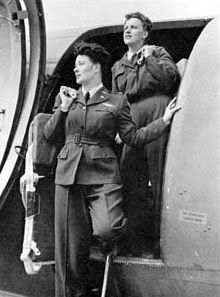 """WASP C-47 crew: Pilot Joanna Trebtoske and Copilot Marjorie Logan at Romulus Army Air Field, Mich. (U.S. Air Force photo) On Feb. 14, 1944, the WASP """"Santiago Blue"""" uniform was first used."""