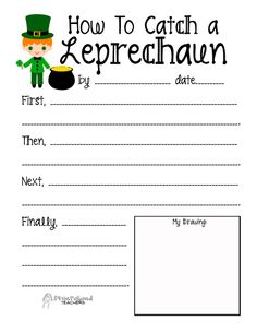 Catching leprechauns is a childhood favorite. Why not write about it! I love hearing kids' writing about how you go about catching a leprechaun. Good luck catching those pesky fellows! Writing Lessons, Kids Writing, Teaching Writing, Writing Prompts, Teaching Ideas, Procedural Writing, Informational Writing, Creative Writing, Speech Activities