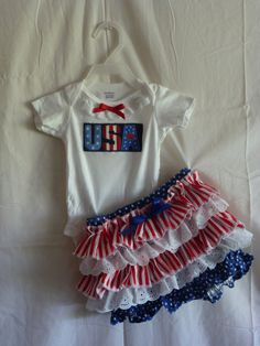 Girls Fourth of July onsie ruffled bloomer outfit by SedonaStyle, $28.00