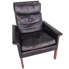 Hans Olsen Vintage Black Leather and Rosewood Chair
