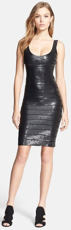 Herve Leger - Sequin Bandage Pencil Dress