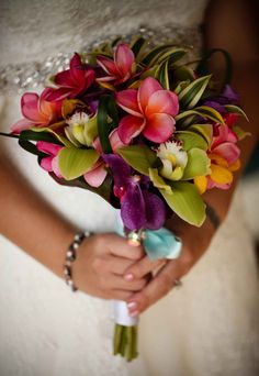 Bridal Bouquets and Wedding Flowers: Tropical bouquet with red, purple and green flowers