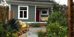 befores and afters on a front yard conversion from boring to delightful!