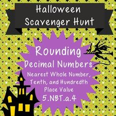 Rounding Decimal Numbers Halloween - Rounding Decimal Numbers Scavenger HuntMake rounding numbers to the nearest whole number, tenths, and hundredths place value so much fun, students won't know they are learning! Students round numbers to decode interesting Halloween facts.