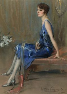 Sitting Woman by Paul Mathio [Pavlos Mathiopoulos] - Blue Dream, Game Of Thrones Characters, Gallery, Painting, Fictional Characters, Women, 1920s, Art, Greece