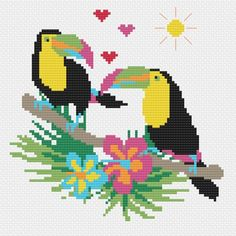 Tropical Toucan Modern Cross Stitch Pattern | Etsy Cross Stitch Bird, Cross Stitch Charts, Cross Stitching, Cross Stitch Embroidery, Embroidery Patterns, Modern Cross Stitch Patterns, Tapestry Crochet, Loom Patterns, Christmas Cross