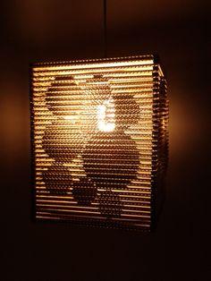 Lampa z kartonu – Kółka 3d / Cardboard lamp – Circle 3d, design, home, Cardboard furniture, meble z tektury, eko, ekologiczne, diy, zrób to sam, cardboard lamp
