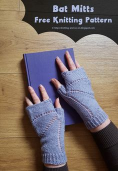 Knitted in one piece with a lace pattern, these fingerless gloves are reminiscent of the wings of a bat. The design of the second mitt mirrors the first one.  Thumb and the first part of the palm are knitted in the round. The rest of the palm is knitted flat and ends with a three-needle BO. Finally the cuff starts with a few short rows to even out height differences and ends with a few rounds of ribbing.  knitting tutorial, free knitting pattern, knit, free online knitting pattern, knitting…