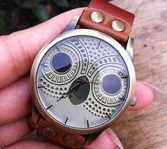 Brown leather bracelet watch cute owl watch  women's wrist watch vintage style men's leather watch best Christmas Gift Boyfriend Gift on Etsy, $9.50