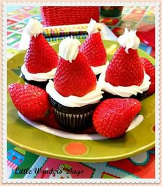 Santa hat cupcakes, so cute
