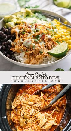 Slow Cooker Huhn, Slow Cooker Recipes, Cooking Recipes, Healthy Crockpot Chicken Recipes, Crockpot Recipes Mexican, Healthy Slow Cooker, Chicken Burrito Recipe Crockpot, Mexican Bowl Recipe, Dinner Recipes