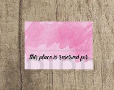 Rose Pink Wedding Place Card www.etsy.com/uk/shop/PippinPrints