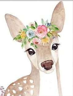 Discover recipes, home ideas, style inspiration and other ideas to try. Baby Animal Drawings, Cute Drawings, Watercolor Animals, Watercolor Paintings, Watercolor Deer, Baby Art, Art Sketchbook, Animal Paintings, Nursery Art