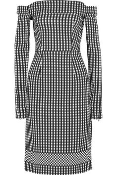Off-the-shoulder silhouettes are a key trend for Spring '16 - we like Preen by Thornton Bregazzi's modern interpretation using adjustable Velcro® straps on the sleeves of this 'Olivia' dress. It's cut from lightly structured gingham crepe and has a contrasting check at the hem to define the graphic print. Team yours with a clutch and sandals.
