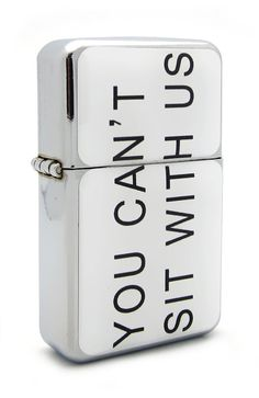 Funny Quote 'You Can't Sit With Us' Flip Top Refillable Aluminum Pocket Oil Petrol Lighter *** Don't get left behind, see this great product : Safety and Survival