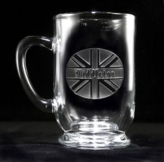 British Flag Personalized Glass Coffee Mug at Crystal Imagery. Personalized monogrammed gift ideas.