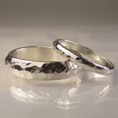 Recycled Palladium Sterling Silver Wedding Bands Set by artifactum, $195.00
