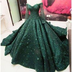 Green off the shoulder, long sleeve Ball Gown