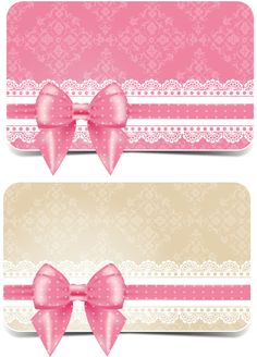 Lace with pink bow business card vector