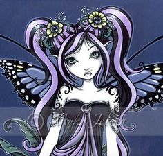 Items similar to Gothic Fairy Blue Tribal Tattoo Sophia Portrait Signed Art Print by Myka Jelina on Etsy Gothic Angel, Gothic Fairy, Gothic Fantasy Art, Fairies Photos, Fairy Pictures, Pretty Pictures, Unicorns And Mermaids, Butterfly Fairy, Blue Butterfly