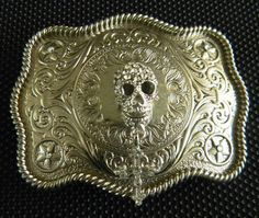 Skull Cross Steampunk Rhinestone Silver Western Engraved Womens Mens Belt Buckle, Day of The Dead, Human Skull, Cross Belt,Biker Belt on Etsy, $34.99