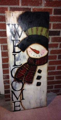 How to Make Awesome Christmas Outdoor Decorations – Giant Lollipops Frosty Welcome wood snowman sign More Christmas Signs, Rustic Christmas, Christmas Art, Christmas Projects, Winter Christmas, Christmas Ornaments, Christmas Ideas, Wooden Christmas Crafts, Christmas Canvas