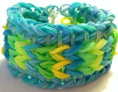 Handmade Reversible Rainbow Loom Bracelet Sailor's Knot Blue Neon Green Yellow Pinstripe on Etsy, $11.50